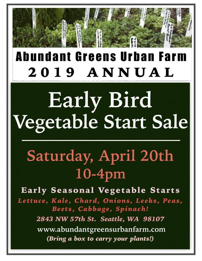 2019 Early Bird Vegetable Start Sale jpeg